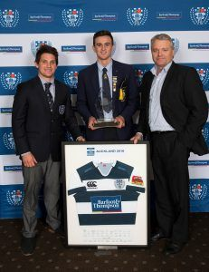 With Simon Hickey (L) and Paul Creighton (R) Harry Plummer (C) receives the 2016 Junior Rugby Foundation Scholarship. Auckland Rugby Union Awards 2016, Eden Park, Auckland, New Zealand on Wednesday, October 26, 2016. Copyright photo: David Rowland / www.photosport.nz